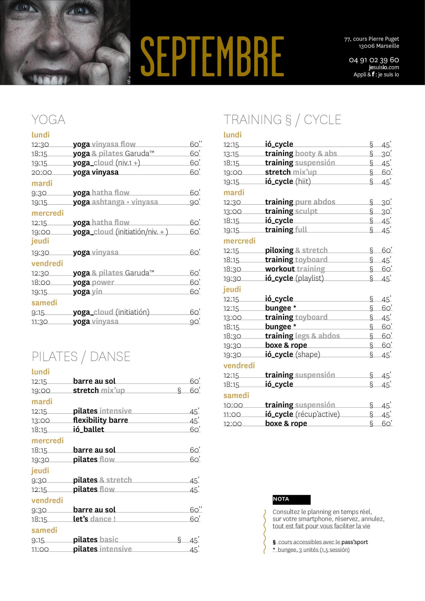 Le planning habdomadaire classé par disciplines : yoga / pilates / danse / training