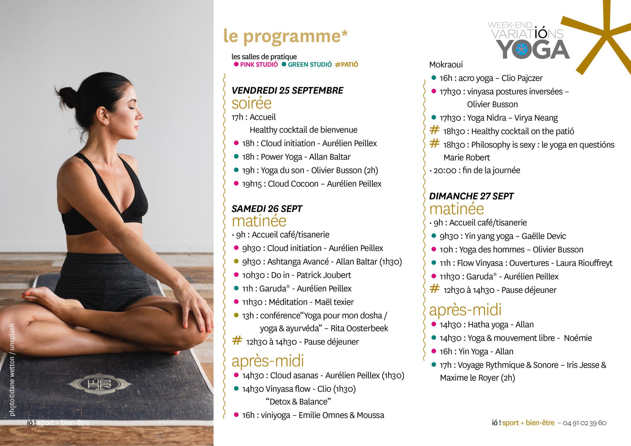 le programme détaillé du week-end yoga du 25, 26, 27 septembre chez ió, le studió marseille centre ville